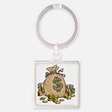Money Bags Square Keychain
