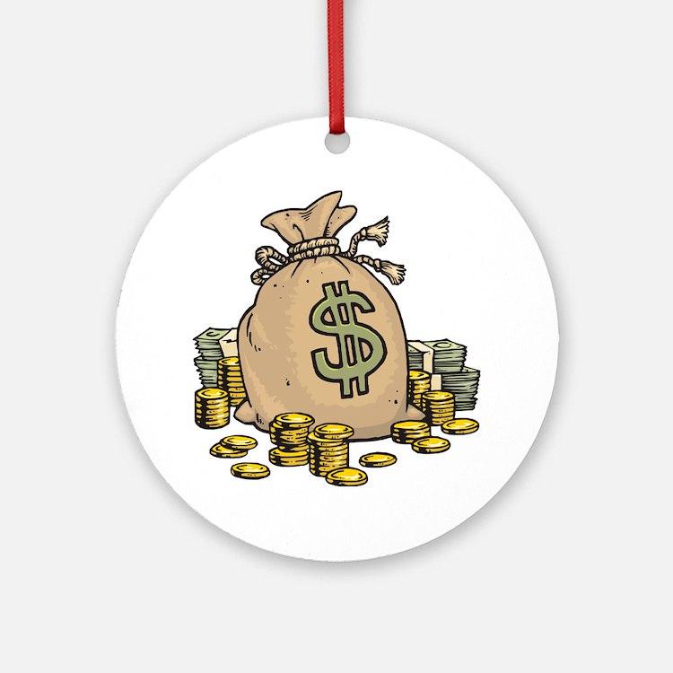 Money Bags Round Ornament