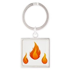 Flame Square Keychain