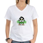 Green CheerLeader Penguin Women's V-Neck T-Shirt