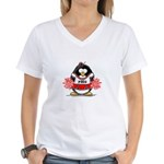 Red CheerLeader Penguin Women's V-Neck T-Shirt