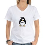 2007 Graduate Penguin Women's V-Neck T-Shirt