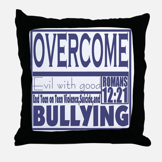 Overcome Bullying Navy Throw Pillow