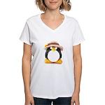 Sunflower Hat Clay Penguin Women's V-Neck T-Shirt