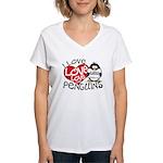 I Love Love Love Penguins Women's V-Neck T-Shirt