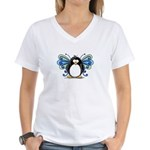 Blue Fairy Penguin Women's V-Neck T-Shirt