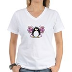Pink Fairy Penguin Women's V-Neck T-Shirt