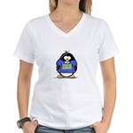 Penguins Make Me Happy Pengui Women's V-Neck T-Shi