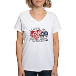 I Love Love More Penguins Women's V-Neck T-Shirt