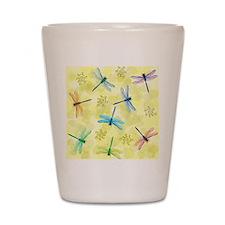 dragonflies shower curtain Shot Glass