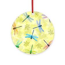 dragonflies shower curtain Round Ornament