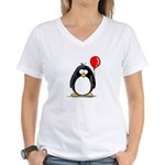 Red Balloon Penguin Women's V-Neck T-Shirt
