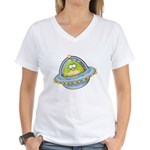 Space Alien Penguin Women's V-Neck T-Shirt