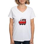 Penguin on a Train Women's V-Neck T-Shirt