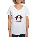 Red Hat penguin Women's V-Neck T-Shirt