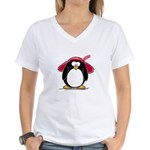 Red Hat penguin Women's V-Neck T-Shirt
