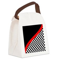 Racing Checkered Design Canvas Lunch Bag