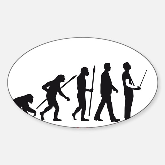 evolution of man with model plane Sticker (Oval)