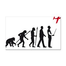 evolution of man with model p Rectangle Car Magnet