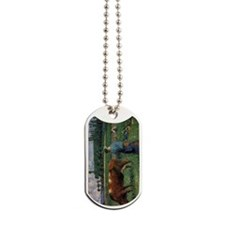 Pissarro Girl Tending Cow in Pasture Dog Tags