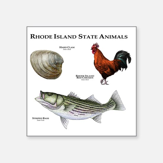 "Rhode Island State Animals Square Sticker 3"" x 3"""