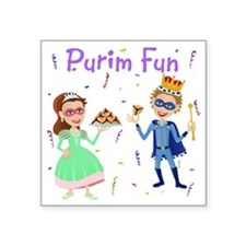 "Purim King  Queen Square Sticker 3"" x 3"""