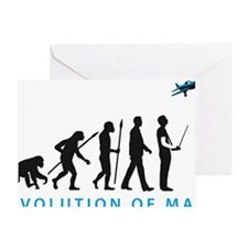 evolution of man with model plane Greeting Card