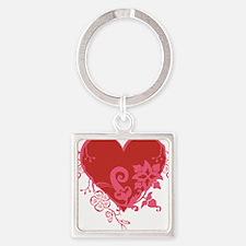 HeartTatDark Square Keychain