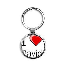 I love David heart tee Round Keychain