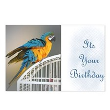 Blue  Gold Birthday Card Postcards (Package of 8)