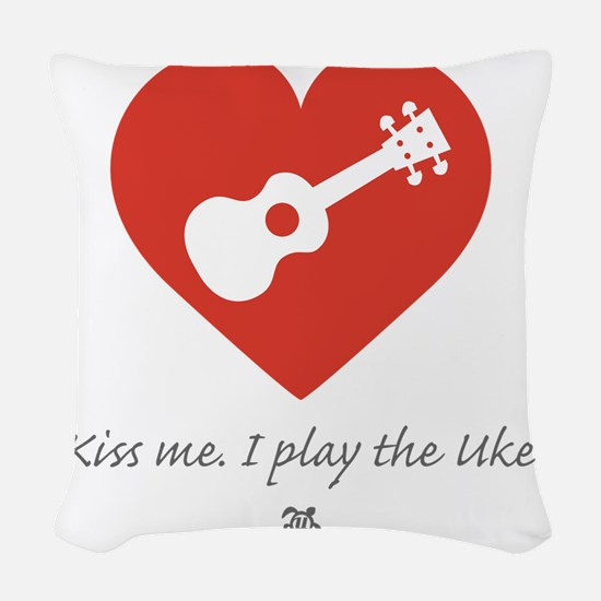 Kiss Me Uke Woven Throw Pillow