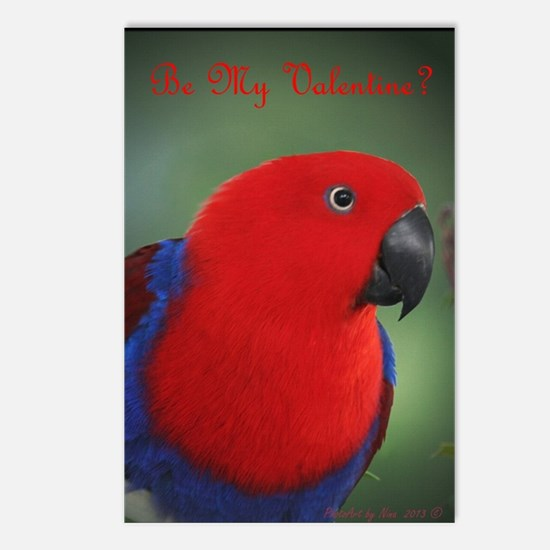 Eclectus Parrot Valentine Postcards (Package of 8)