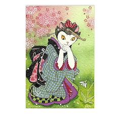 Snowdrop Kimono Kitty Rec Postcards (Package of 8)