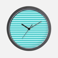 Teal Wavy Pattern Wall Clock