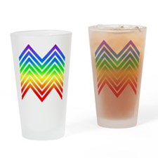 Rainbow Chevrons Drinking Glass