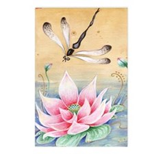 Lotus Dragonfly Art Postcards (Package of 8)