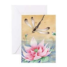 Lotus Dragonfly Art Greeting Card
