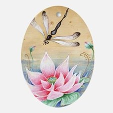 Lotus Dragonfly Art Oval Ornament
