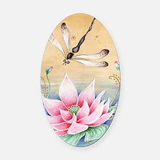 Lotus Dragonfly Art Oval Car Magnet