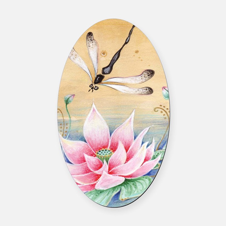 Lotus Dragonfly Art Oval Car Magnet