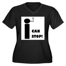 I CAN STOP SMOKING! Women's Plus Size V-Neck Dark