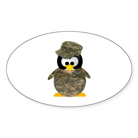 Army Penguin Oval Sticker