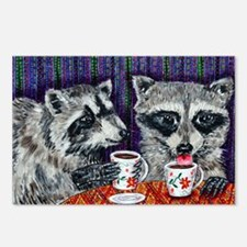 Raccoons at the Cafe Postcards (Package of 8)