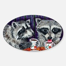 Raccoons at the Cafe Sticker (Oval)
