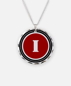 Red I Necklace Circle Charm