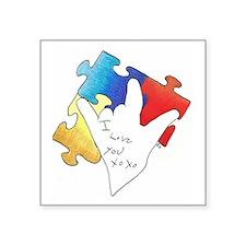 """Deaf Autism Logo Square Sticker 3"""" x 3"""""""