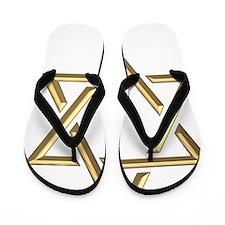 Golden 3-D Star of David Flip Flops