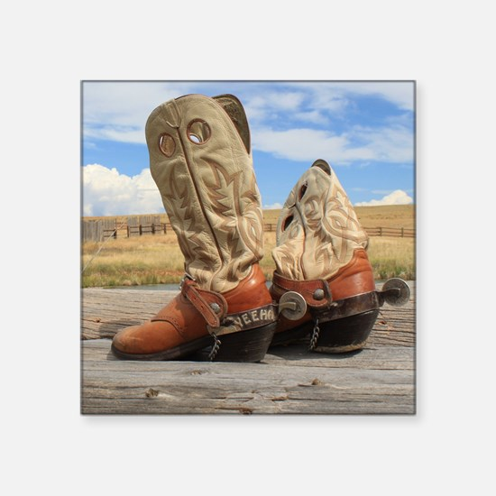 """Boots and Spurs Square Sticker 3"""" x 3"""""""