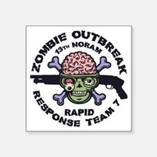 "brainskull-zombie-LTT Square Sticker 3"" x 3"""