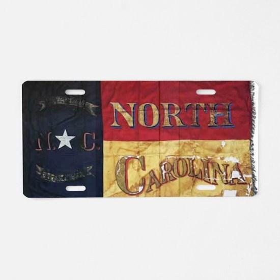 NC Flag Faded Aluminum License Plate